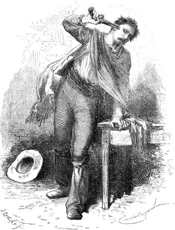 man gun: Suicide, vintage engraved illustration. Le Tour du Monde, Travel Journal, (1872).