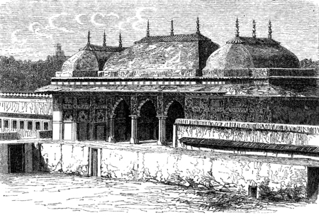 pavilion: Pavilion in the palace of Jaipur, vintage engraved illustration. Le Tour du Monde, Travel Journal, (1872). Stock Photo