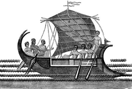 Mosaic depicting Theseus escape from the labyrinth of Crete after killing the Minotaur, vintage engraved illustration. Le Tour du Monde, Travel Journal, (1872).