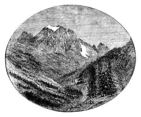 slopes: Mount Pelvoux given the Bessee, vintage engraved illustration. Le Tour du Monde, Travel Journal, (1872). Stock Photo