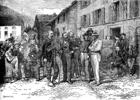 guides: The Hotel Monte Rosa in Zermatt guides and tourists, vintage engraved illustration. Le Tour du Monde, Travel Journal, (1872).