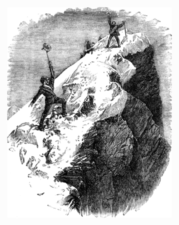 arriving: Arriving at the summit of the Matterhorn, vintage engraved illustration. Le Tour du Monde, Travel Journal, (1872). Stock Photo
