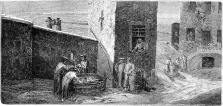 Los soldados estacionados en el pozo (Riga), ilustración de la vendimia grabado. Le Tour du Monde, Diario de viaje, (1865). Foto de archivo - 38395706