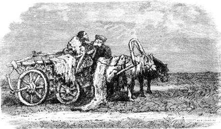 Telega 安静 (エストニア)、ヴィンテージには、図が刻まれています。ル ツアー デュ モンド、トラベル ジャーナル (1865 年)。 写真素材