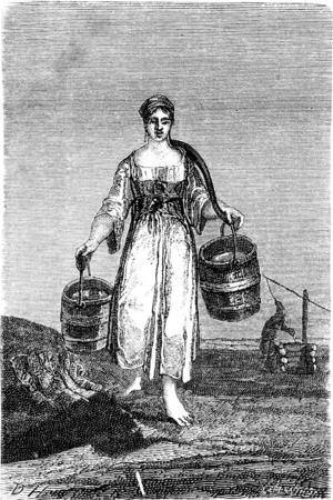 Een jong meisje dat water in Nennal, vintage gegraveerde illustratie. Le Tour du Monde, Travel Journal, (1865).