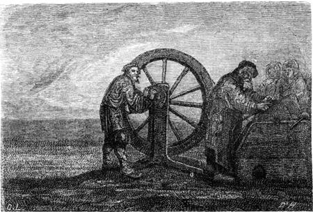 A grinder (Estonia), vintage engraved illustration. Le Tour du Monde, Travel Journal, (1865). Banco de Imagens