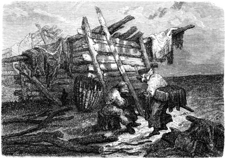 peasant: A peasant hut near Iggafer, vintage engraved illustration. Le Tour du Monde, Travel Journal, (1865).