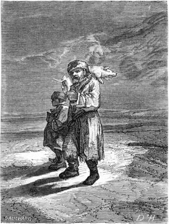 peasant: Peasant carrying a frozen piglet, vintage engraved illustration. Le Tour du Monde, Travel Journal, (1865).