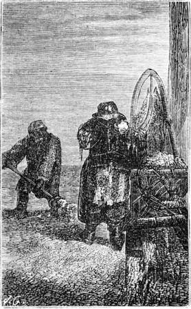 scavenging: Scavengers in Riga, vintage engraved illustration. Le Tour du Monde, Travel Journal, (1865).