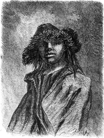peasantry: Young Lithuanian peasant, vintage engraved illustration. Le Tour du Monde, Travel Journal, (1865).