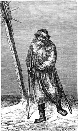 Bedelaar in Litouwen, vintage gegraveerde illustratie. Le Tour du Monde, Travel Journal, (1865).