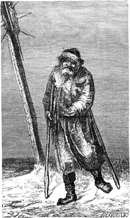 walking stick: Beggar in Lithuania, vintage engraved illustration. Le Tour du Monde, Travel Journal, (1865). Stock Photo