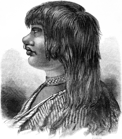 nose ring: Type of Indian Sensi, vintage engraved illustration. Le Tour du Monde, Travel Journal, (1865).