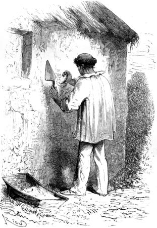 missionary: Missionary and mason, vintage engraved illustration. Le Tour du Monde, Travel Journal, (1865).