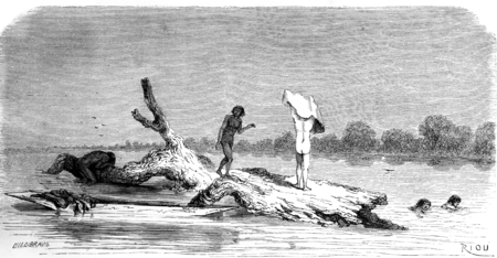 A bath in the middle of river, vintage engraved illustration. Le Tour du Monde, Travel Journal, (1865).