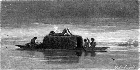 ancient, animal, antique, art, artwork, bird, black, boat, daydream, daydreaming, drawing, dusk, engraved, engraving, etching, illustration, imagination, lake, men, nature, oar, old, people, picture, relaxation, rest, river, sailboat, smoke, transportatio Stock Photo