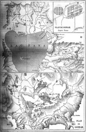 ethiopia: Map of Gondar, vintage engraved illustration. Le Tour du Monde, Travel Journal, (1865).