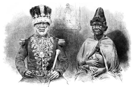King Denis and his great wife, vintage engraved illustration. Le Tour du Monde, Travel Journal, (1865).