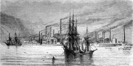 docks: Swansea factories and docks, vintage engraved illustration. Le Tour du Monde, Travel Journal, (1865). Stock Photo
