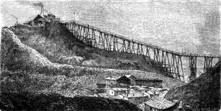 coal mine: A coal mine in Swansea, vintage engraved illustration. Le Tour du Monde, Travel Journal, (1865).