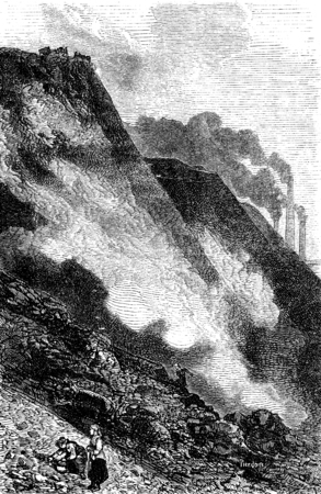 ironworks: The heap of Cyfarthfa ironworks, vintage engraved illustration. Le Tour du Monde, Travel Journal, (1865).