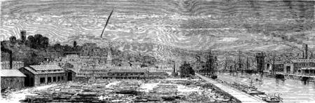 View of Newport, vintage engraved illustration. Le Tour du Monde, Travel Journal, (1865). Stock Photo
