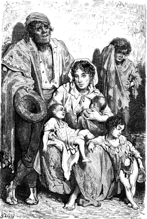 destitute: A family of beggars in Jaen, vintage engraved illustration. Le Tour du Monde, Travel Journal, (1865).