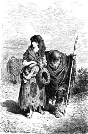 A centennial and her granddaughter beggar in Berja, vintage engraved illustration. Le Tour du Monde, Travel Journal, (1865). Imagens