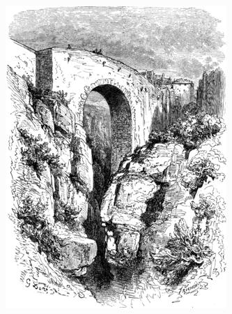Roman bridge in Ronda, vintage engraved illustration. Le Tour du Monde, Travel Journal, (1865).