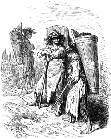 포도 수확: Jerez (Sherry)에서 픽커, 빈티지 새겨진 일러스트 레이션. Le Tour du Monde, 여행 저널, (1865). 스톡 콘텐츠