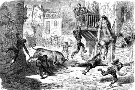 cruel: A bullfight in lugar (novillos race in a village), vintage engraved illustration. Le Tour du Monde, Travel Journal, (1865). Stock Photo