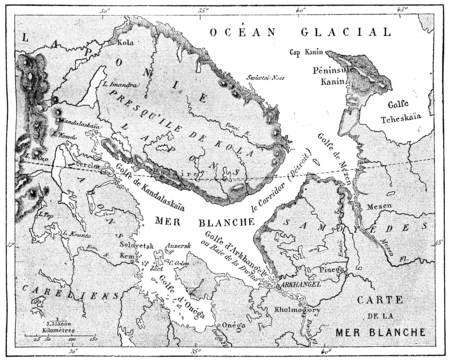 Map of the White Sea, vintage engraved illustration. Le Tour du Monde, Travel Journal, (1872).