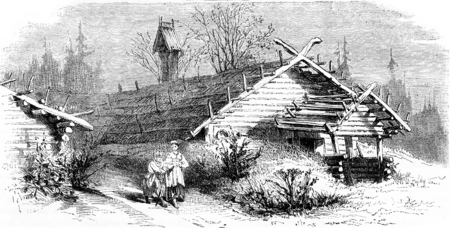 Huis (hut) in het noorden van Rusland, vintage gegraveerde illustratie. Le Tour du Monde, Travel Journal, (1872). Stockfoto