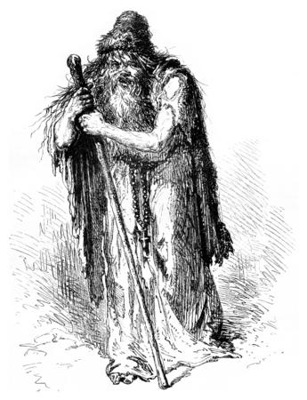 Father Nicolas, professor of abjection, vintage engraved illustration. Le Tour du Monde, Travel Journal, (1872). Stok Fotoğraf