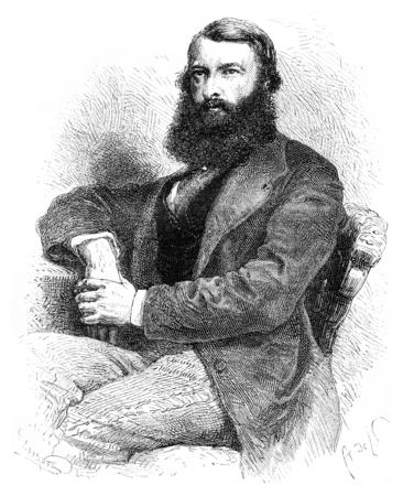 사마린, 모스크바 가제트의 편집자, 빈티지 새겨진 일러스트. Le Tour du Monde, 여행 저널, (1872). 스톡 콘텐츠