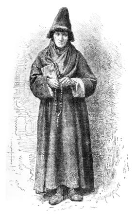 the believer: An Old Believer, vintage engraved illustration. Le Tour du Monde, Travel Journal, (1872). Stock Photo