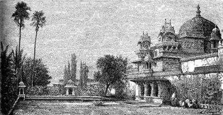 Palace on the island of Jag Mandir in Udaipur, vintage engraved illustration. Le Tour du Monde, Travel Journal, (1872).