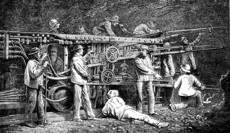 underpass: Machine used in tunneling of the Alps, vintage engraved illustration. Le Tour du Monde, Travel Journal, (1872).