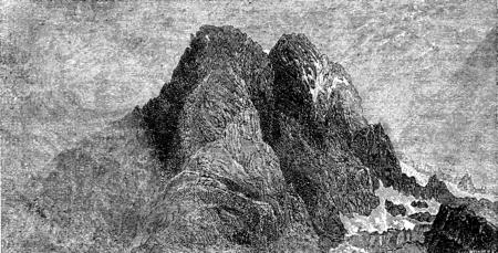 The Grand in Pelvoux Vallouise, vintage engraved illustration. Le Tour du Monde, Travel Journal, (1872).