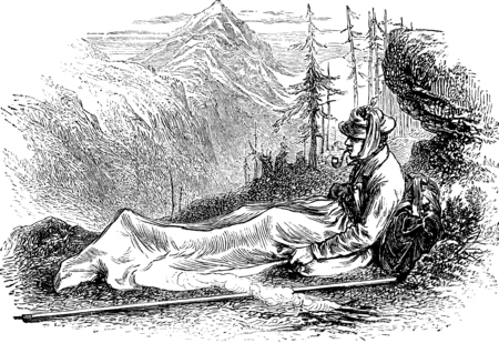 alone man: M.Whymper in his blanket-bag, vintage engraved illustration. Le Tour du Monde, Travel Journal, (1872). Stock Photo