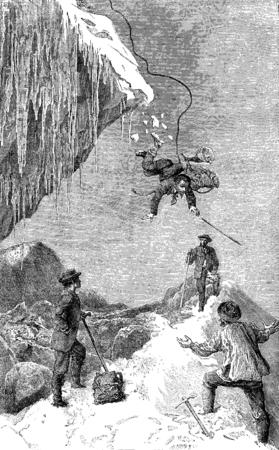 the passage: Passage of the glacier bergschrund Pilatte, vintage engraved illustration. Le Tour du Monde, Travel Journal, (1872).