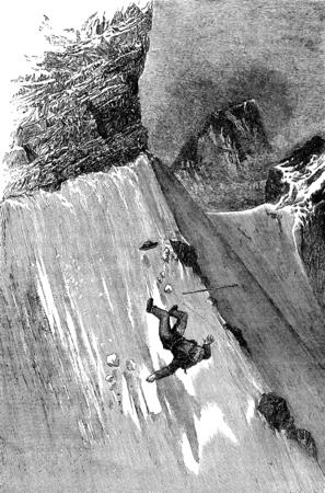 dangerous man: Fall of Mr. Whymper to Col du Lion, vintage engraved illustration. Le Tour du Monde, Travel Journal, (1872).
