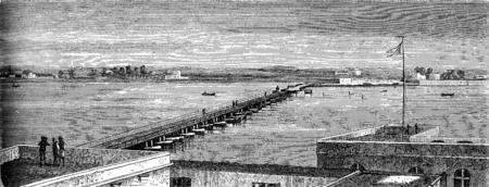 louis: Sort Bridge in St. Louis, vintage engraved illustration. Le Tour du Monde, Travel Journal, (1872). Stock Photo