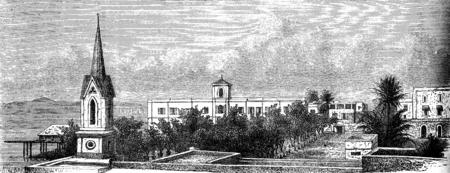 abbey: Convent of the ladies of St. Joseph in St. Louis, vintage engraved illustration. Le Tour du Monde, Travel Journal, (1872). Stock Photo