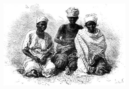 sirvientes: Funcionarios senegaleses, cosecha ilustraci�n grabada. Le Tour du Monde, Diario de viaje, (1872). Foto de archivo