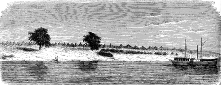 Ndioum, vintage engraved illustration. Le Tour du Monde, Travel Journal, (1872).