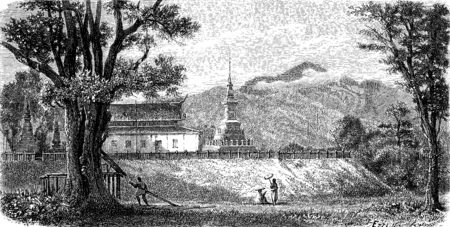lao: A Lao Pagoda (Wat Luang Prabang Tomea Soc), vintage engraved illustration. Le Tour du Monde, Travel Journal, (1872). Stock Photo