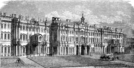 petersburg: The Winter Palace in Saint Petersburg, vintage engraved illustration. Le Tour du Monde, Travel Journal, (1872).