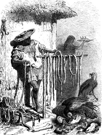 martha: A butcher in St. Martha, vintage engraved illustration. Le Tour du Monde, Travel Journal, (1872).