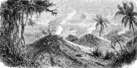 火山 Turbaco ヴィンテージには、図が刻まれています。ル ツアー デュ モンド、トラベル ジャーナル、(1872 年)。